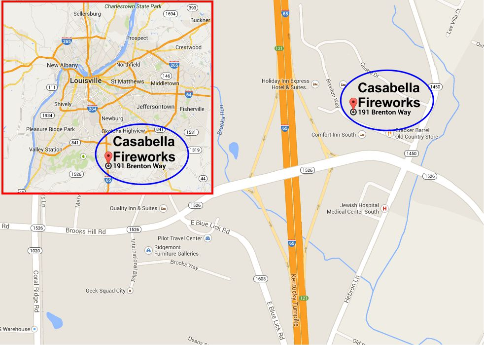 Casabella Fireworks I-65 Brooks Exit Location